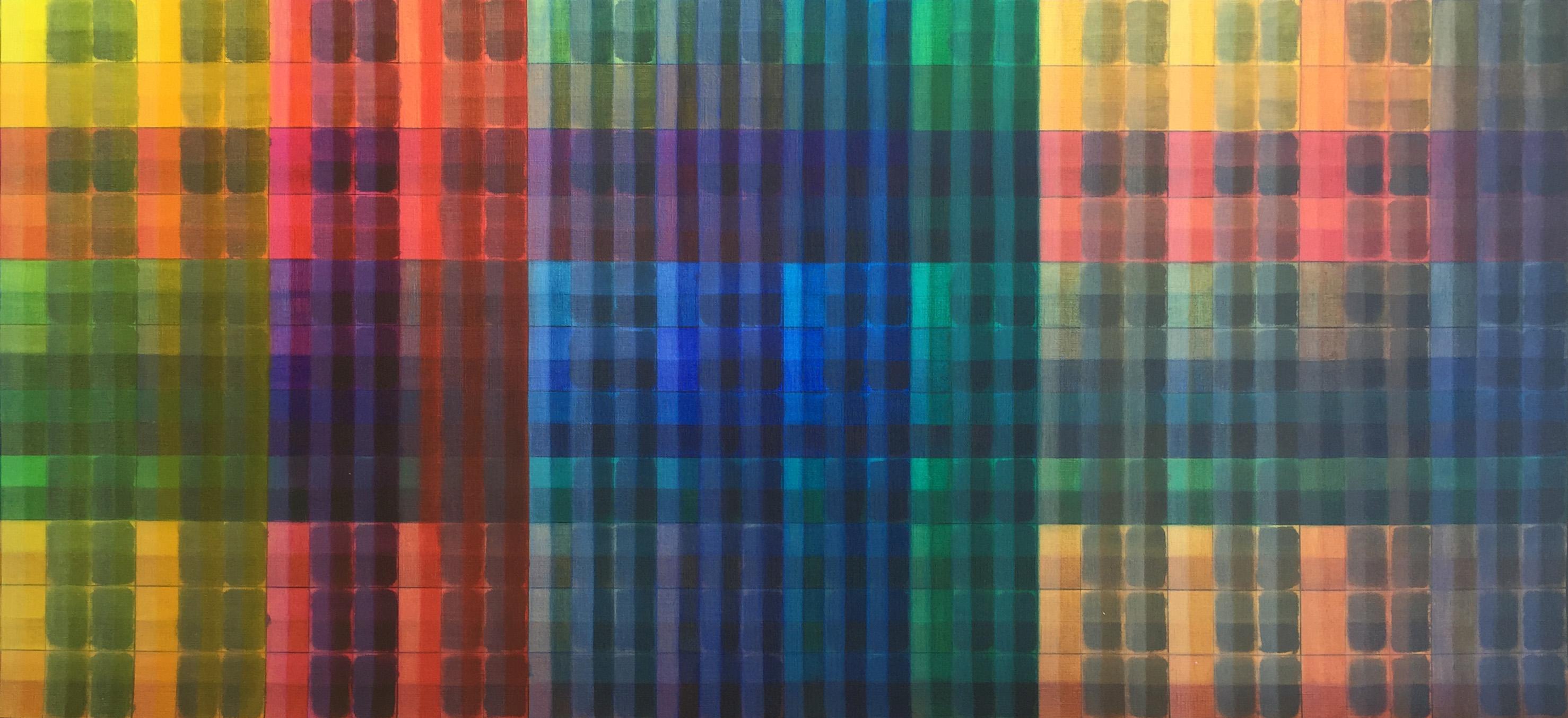 Multi-coloured patterned artwork